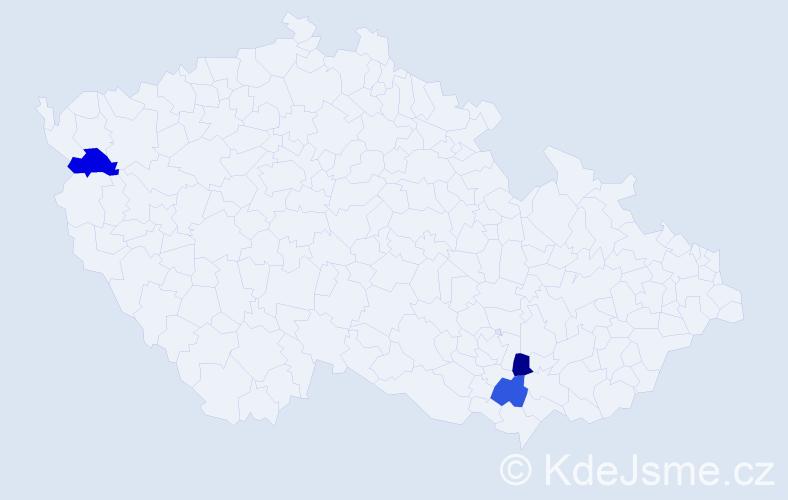 Příjmení: 'Imrichovská', počet výskytů 3 v celé ČR
