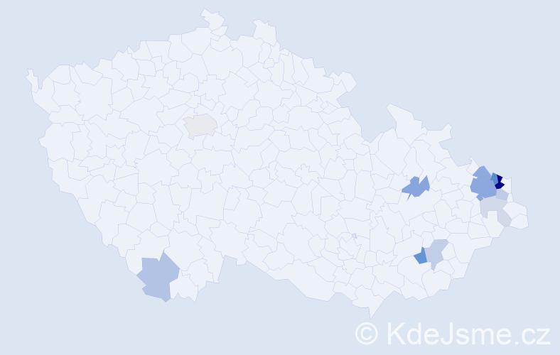 Příjmení: 'Starostka', počet výskytů 62 v celé ČR