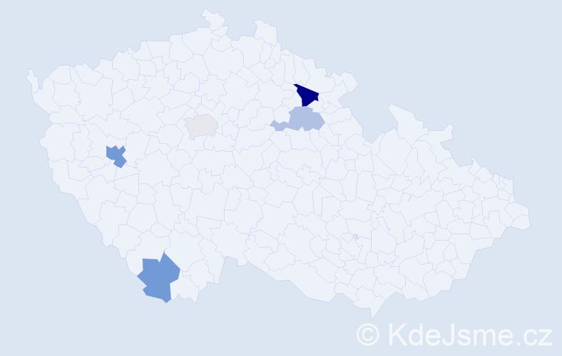 Příjmení: 'Alušíková', počet výskytů 8 v celé ČR