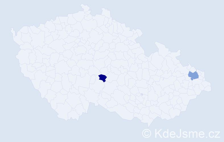 Příjmení: 'Klagová', počet výskytů 4 v celé ČR