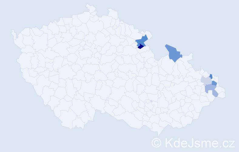 Příjmení: 'Bogusz', počet výskytů 9 v celé ČR