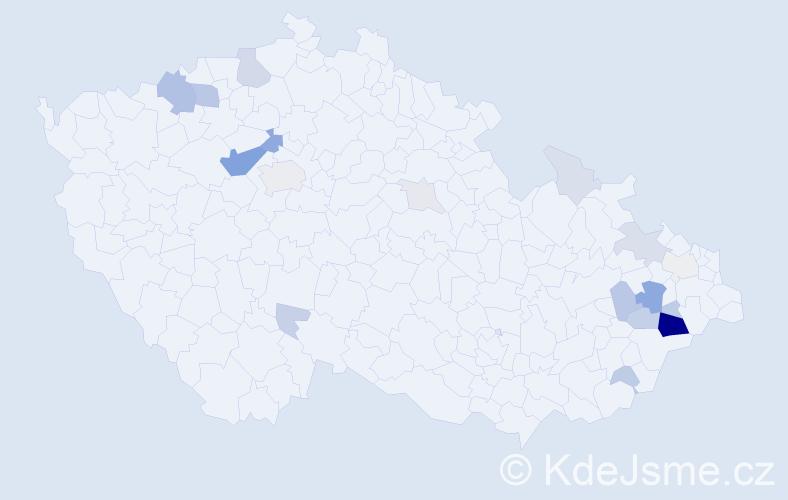 Příjmení: 'Cverna', počet výskytů 66 v celé ČR