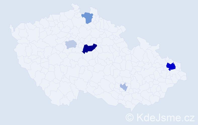 Příjmení: 'Klobasa', počet výskytů 11 v celé ČR