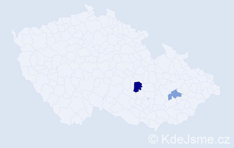 Příjmení: 'Kasperliková', počet výskytů 2 v celé ČR