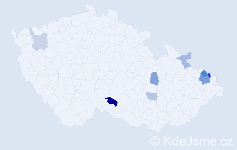 Příjmení: 'Gryz', počet výskytů 21 v celé ČR