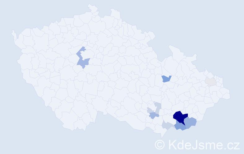 Příjmení: 'Jestřabík', počet výskytů 28 v celé ČR