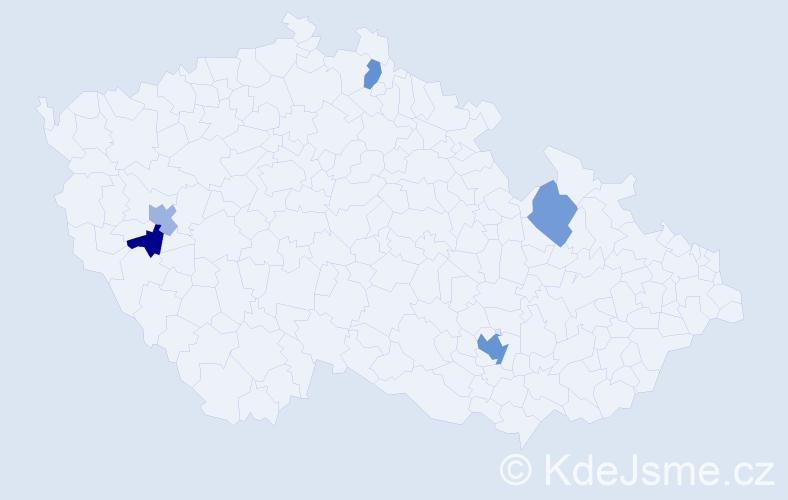 Příjmení: 'Kaš', počet výskytů 8 v celé ČR
