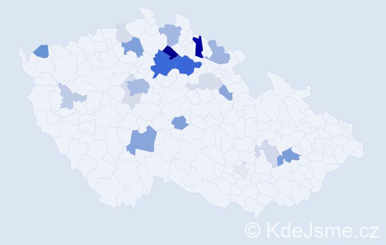 Příjmení: 'Banýrová', počet výskytů 63 v celé ČR
