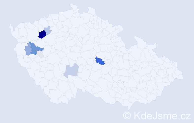 Příjmení: 'Konstantinovičová', počet výskytů 20 v celé ČR
