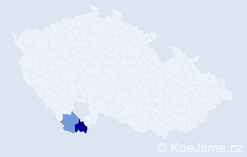 Příjmení: 'Čabela', počet výskytů 11 v celé ČR