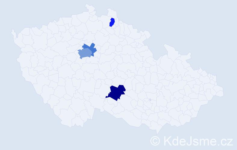 Příjmení: 'Gilbert', počet výskytů 9 v celé ČR