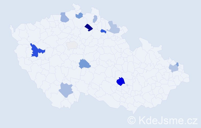 Příjmení: 'Čorbová', počet výskytů 23 v celé ČR
