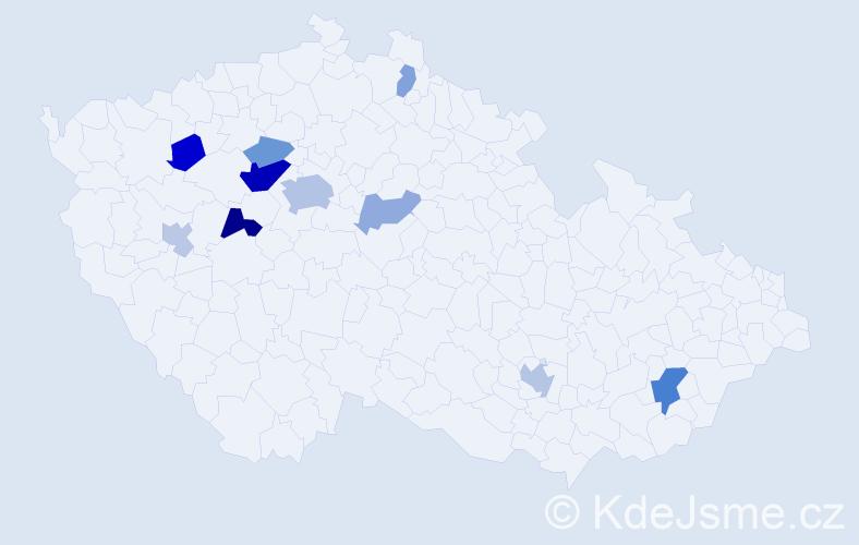 Příjmení: 'Elger', počet výskytů 24 v celé ČR