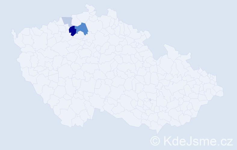Příjmení: 'Cyteráková', počet výskytů 7 v celé ČR