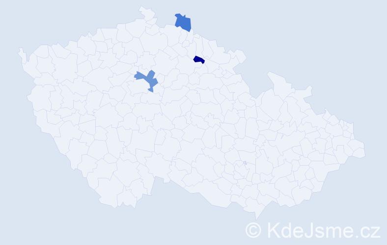 Příjmení: 'Ferles', počet výskytů 4 v celé ČR
