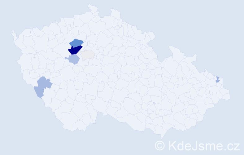 Příjmení: 'Břeh', počet výskytů 18 v celé ČR