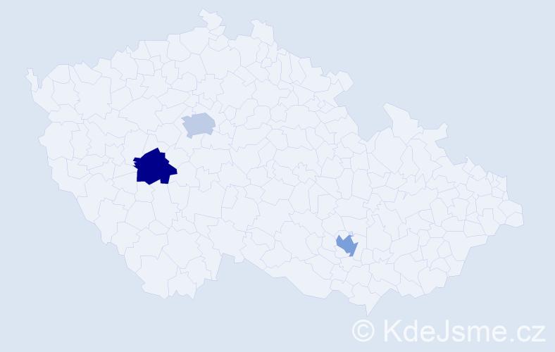 Příjmení: 'Cherif', počet výskytů 3 v celé ČR