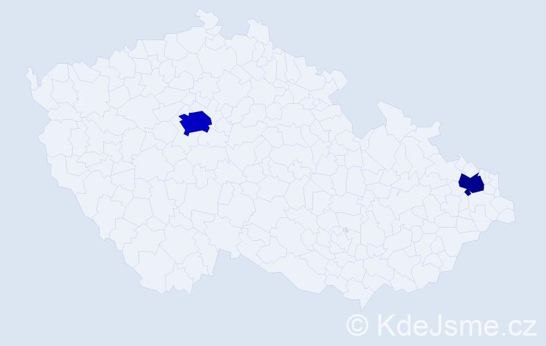 Příjmení: 'Čárská', počet výskytů 4 v celé ČR