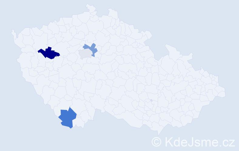 Příjmení: 'Gaydoš', počet výskytů 4 v celé ČR