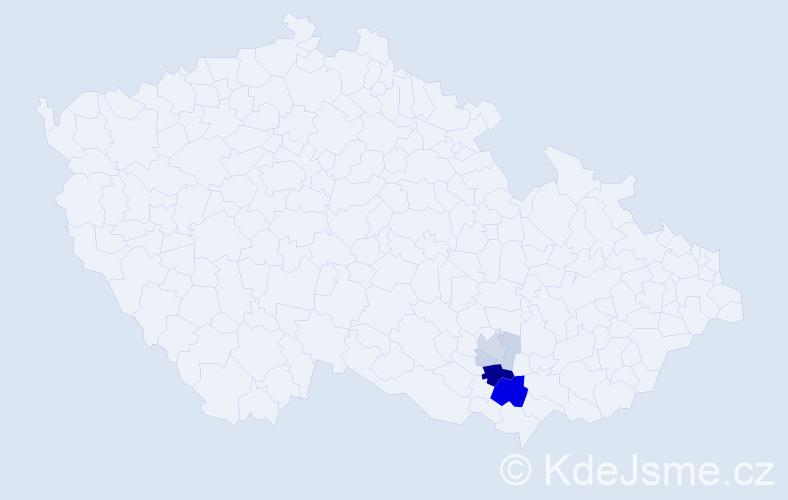 Příjmení: 'Broskva', počet výskytů 16 v celé ČR