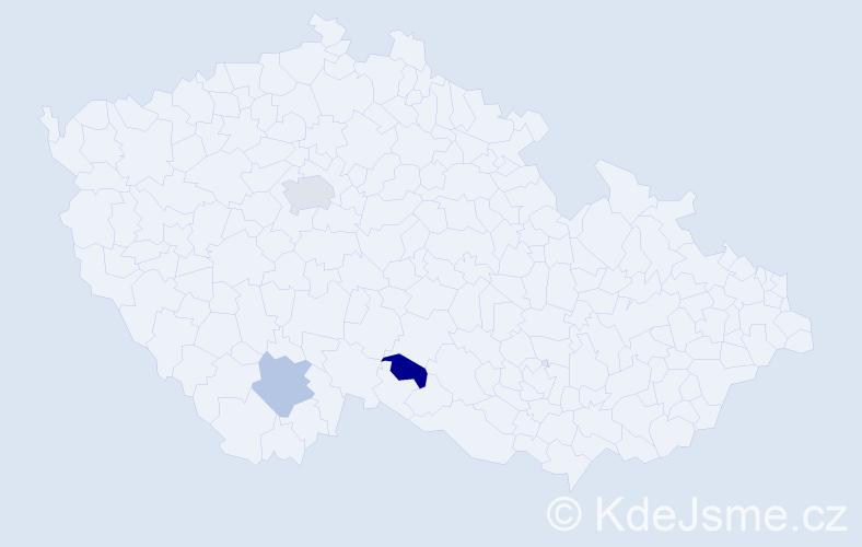Příjmení: 'Kusevič', počet výskytů 4 v celé ČR