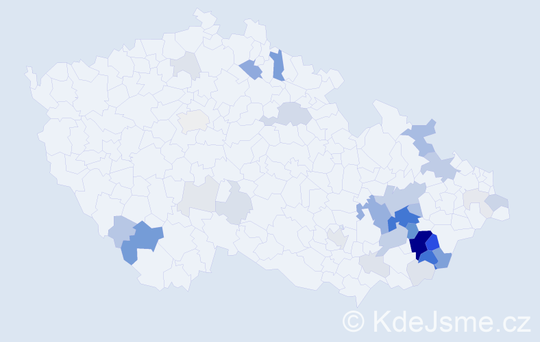 Příjmení: 'Divilová', počet výskytů 127 v celé ČR