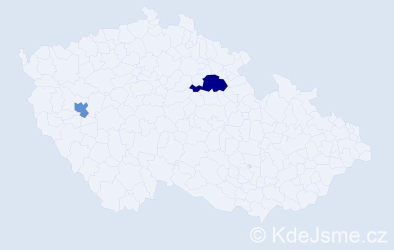 Příjmení: 'Čecha', počet výskytů 3 v celé ČR