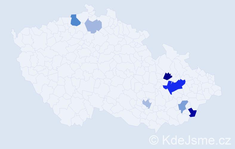 Příjmení: 'Čundrle', počet výskytů 21 v celé ČR