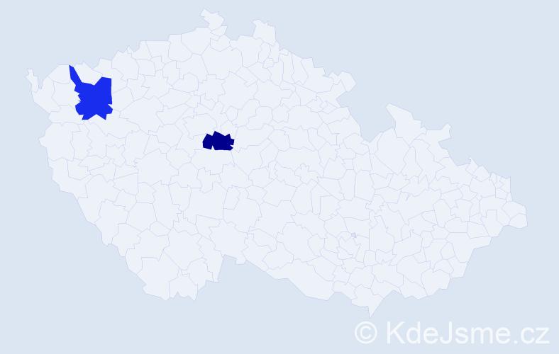 Příjmení: 'Jahič', počet výskytů 2 v celé ČR