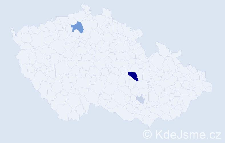 Příjmení: 'Hajker', počet výskytů 3 v celé ČR