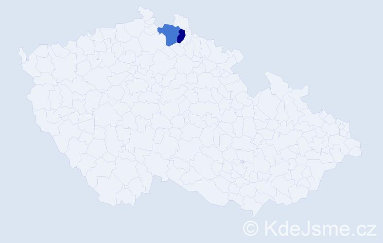 Příjmení: 'Halamčeková', počet výskytů 2 v celé ČR