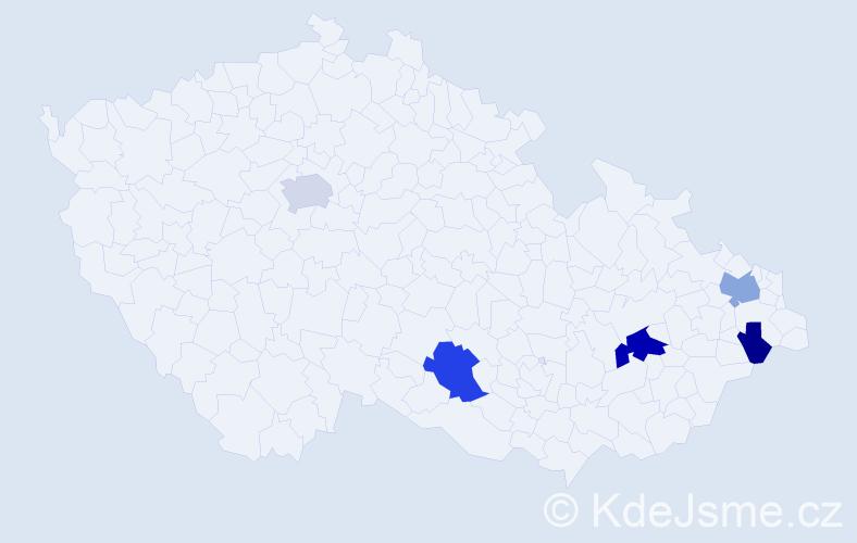 Příjmení: 'Kubínyiová', počet výskytů 10 v celé ČR