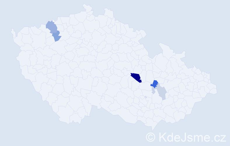 Příjmení: 'Lálík', počet výskytů 8 v celé ČR