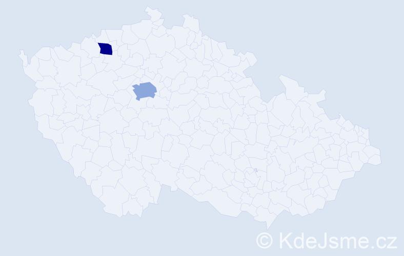 Příjmení: 'Hojdem', počet výskytů 3 v celé ČR