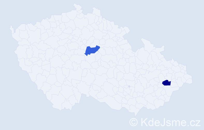 Příjmení: 'Gaboš', počet výskytů 2 v celé ČR
