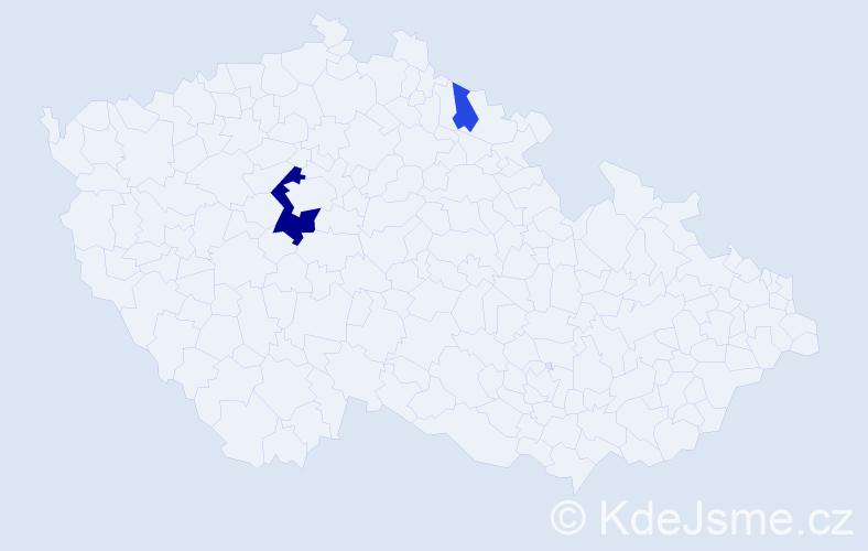 Příjmení: 'Chasník', počet výskytů 6 v celé ČR