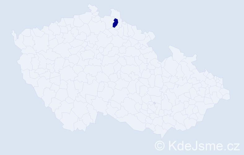 """Příjmení: '""""Eliášová Vandrovcová""""', počet výskytů 1 v celé ČR"""