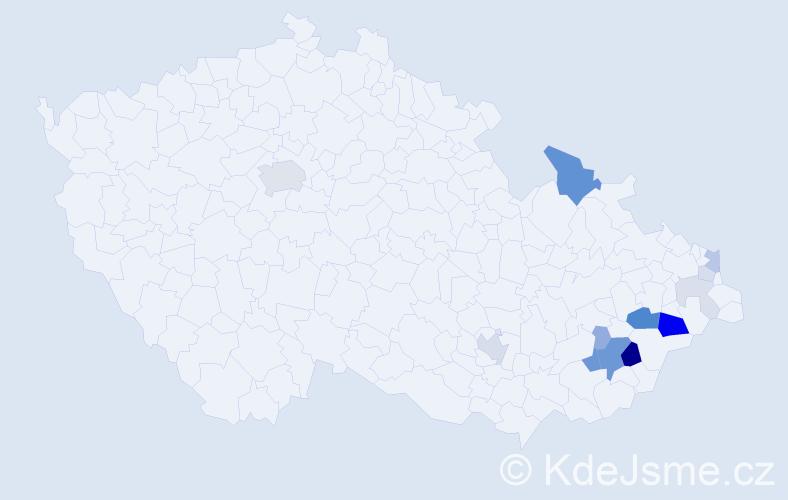 Příjmení: 'Květák', počet výskytů 44 v celé ČR
