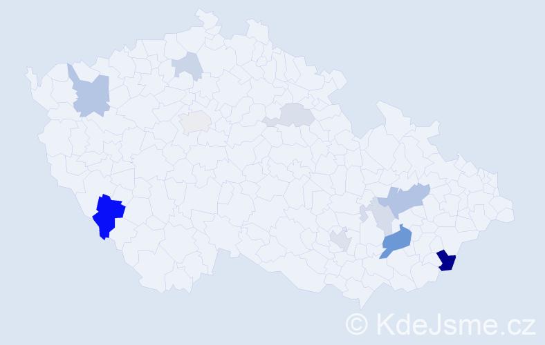 Příjmení: 'Kolbinger', počet výskytů 26 v celé ČR