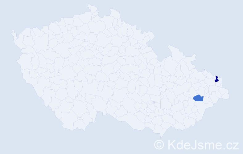 Příjmení: 'Chriašteľová', počet výskytů 3 v celé ČR