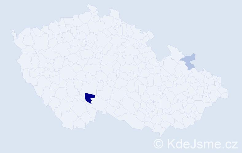 Příjmení: 'Habarová', počet výskytů 5 v celé ČR