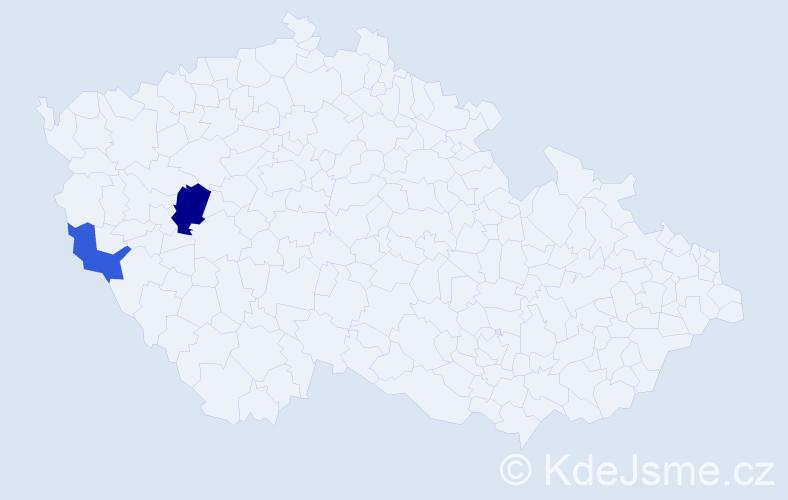 Příjmení: 'Baumerová', počet výskytů 9 v celé ČR