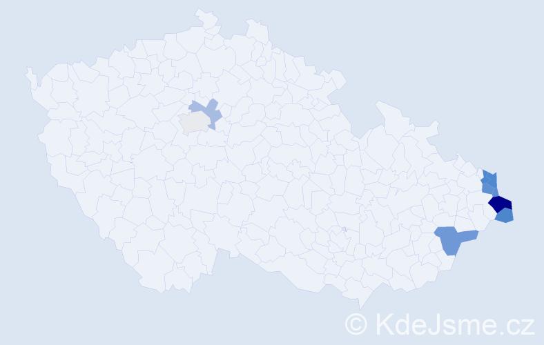 Příjmení: 'Kiedrońová', počet výskytů 19 v celé ČR