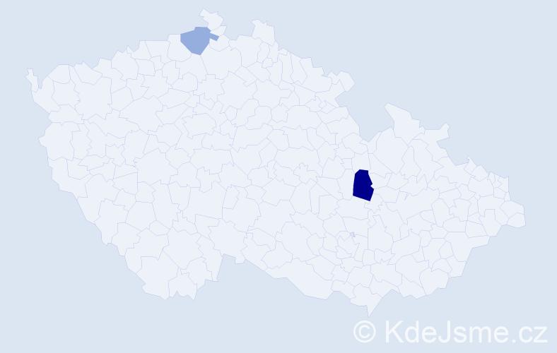 Příjmení: 'Kapľavková', počet výskytů 3 v celé ČR