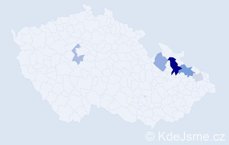 Příjmení: 'Bárkyová', počet výskytů 8 v celé ČR