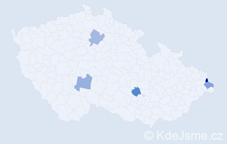 Příjmení: 'Čiaková', počet výskytů 6 v celé ČR