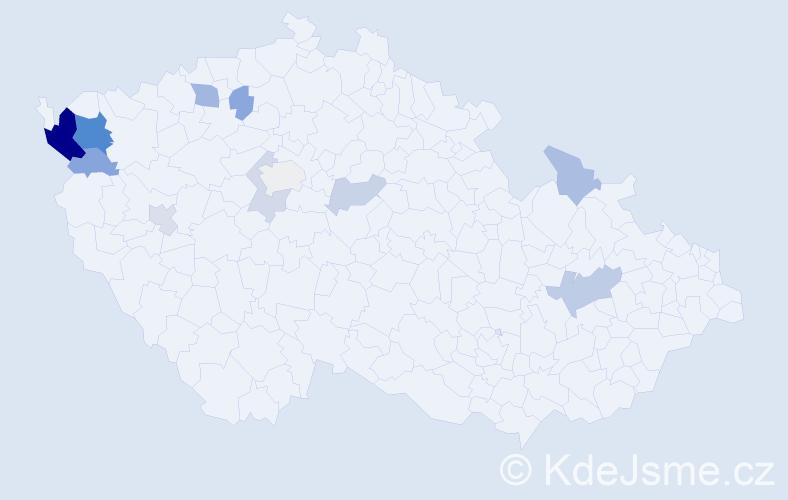 Příjmení: 'Eschlerová', počet výskytů 26 v celé ČR