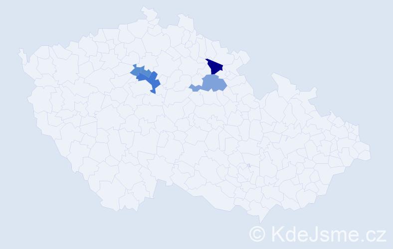 Příjmení: 'Cioleková', počet výskytů 9 v celé ČR