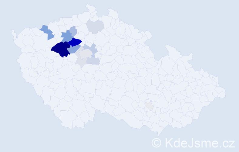 Příjmení: 'Čečrdle', počet výskytů 46 v celé ČR