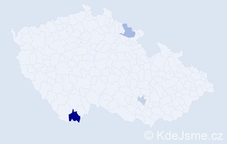 Příjmení: 'Holzinger', počet výskytů 5 v celé ČR